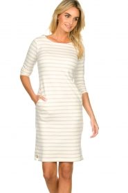 Knit-ted |  Striped dress Mylena | beige  | Picture 4