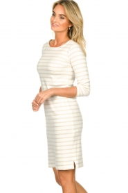 Knit-ted |  Striped dress Mylena | beige  | Picture 6