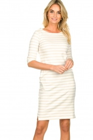Knit-ted |  Striped dress Mylena | beige  | Picture 2