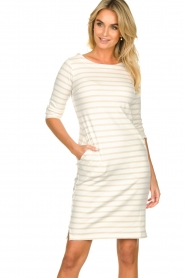 Knit-ted |  Striped dress Mylena | beige  | Picture 5