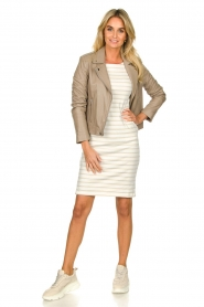 Knit-ted |  Striped dress Mylena | beige  | Picture 3