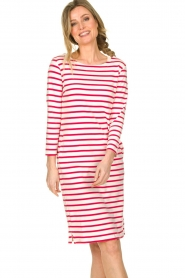 Knit-ted |  Striped dress Mylena | pink  | Picture 2