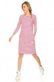 Knit-ted |  Striped dress Mylena | pink  | Picture 3
