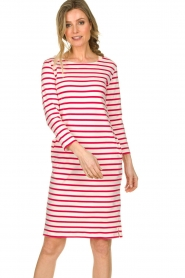 Knit-ted |  Striped dress Mylena | pink  | Picture 4