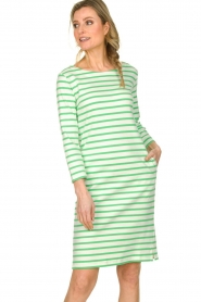 Knit-ted |  Striped dress Mylena | green  | Picture 2