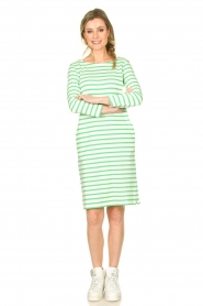 Knit-ted |  Striped dress Mylena | green  | Picture 3