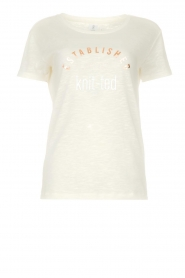 Knit-ted | T-shirt met tekstprint Marian | white