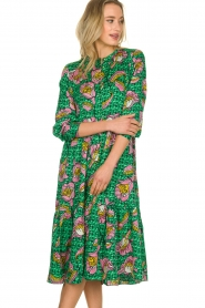 Lolly's Laundry |  Printed midi dress Kaia | green  | Picture 2