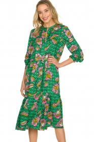 Lolly's Laundry |  Printed midi dress Kaia | green  | Picture 6