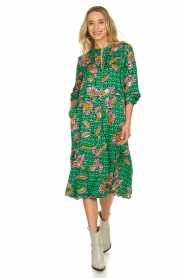 Lolly's Laundry |  Printed midi dress Kaia | green  | Picture 3