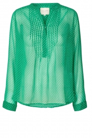 Lolly's Laundry |  Dotted see-through blouse Helena | green  | Picture 1