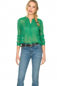Lolly's Laundry |  Dotted see-through blouse Helena | green  | Picture 2