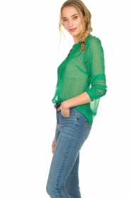Lolly's Laundry |  Dotted see-through blouse Helena | green  | Picture 4