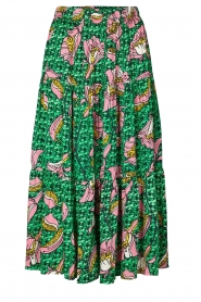 Lolly's Laundry |  Printed midi skirt Morning | green  | Picture 1