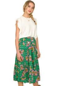 Lolly's Laundry |  Printed midi skirt Morning | green  | Picture 5