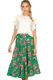 Lolly's Laundry |  Printed midi skirt Morning | green  | Picture 4