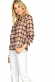 Lolly's Laundry |  Checkered blouse with lurex Melanie | purple  | Picture 5