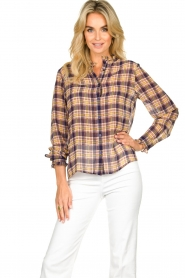 Lolly's Laundry |  Checkered blouse with lurex Melanie | purple  | Picture 2