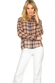 Lolly's Laundry |  Checkered blouse with lurex Melanie | purple  | Picture 4