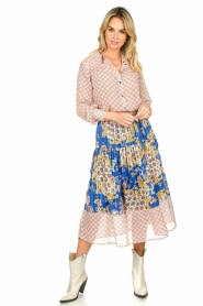 Lolly's Laundry |  Printed midi skirt Cokko | blue  | Picture 6
