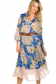 Lolly's Laundry |  Print blouse Molly | blue  | Picture 4