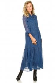 Lolly's Laundry | Maxi jurk met print Penny | blauw  | Afbeelding 3