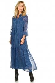 Lolly's Laundry | Maxi jurk met print Penny | blauw  | Afbeelding 2