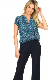 Lolly's Laundry |  Printed top Heather | blue  | Picture 4