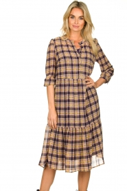 Lolly's Laundry |  Checkered dress with lurex Naja | purple  | Picture 2
