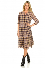 Lolly's Laundry |  Checkered dress with lurex Naja | purple  | Picture 3