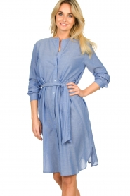 Lolly's Laundry |  Cotton shirt dress Basic | blue  | Picture 2