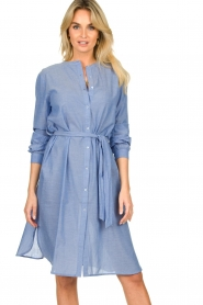 Lolly's Laundry |  Cotton shirt dress Basic | blue  | Picture 4