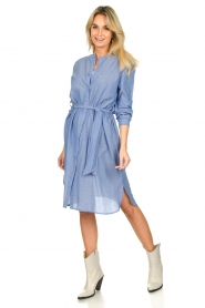 Lolly's Laundry |  Cotton shirt dress Basic | blue  | Picture 3