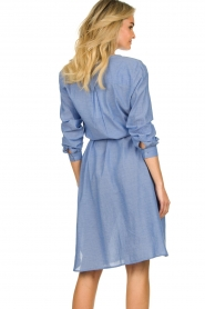 Lolly's Laundry |  Cotton shirt dress Basic | blue  | Picture 6