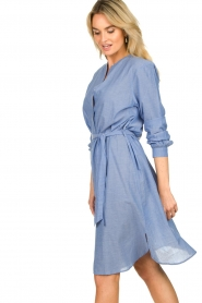 Lolly's Laundry |  Cotton shirt dress Basic | blue  | Picture 5