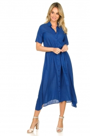 Lolly's Laundry |  Midi dress with dot print Blake | blue  | Picture 3