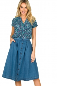 Lolly's Laundry |  Buttoned cotton skirt Marley | blue  | Picture 2