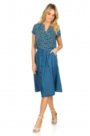 Lolly's Laundry |  Buttoned cotton skirt Marley | blue  | Picture 3