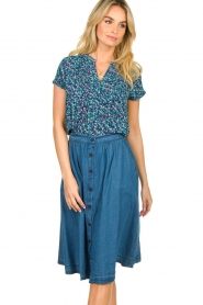 Lolly's Laundry |  Buttoned cotton skirt Marley | blue  | Picture 4