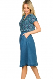 Lolly's Laundry |  Buttoned cotton skirt Marley | blue  | Picture 5