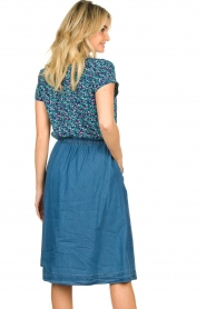 Lolly's Laundry |  Buttoned cotton skirt Marley | blue  | Picture 6