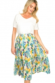 Lolly's Laundry |  Floral midi skirt Morning | white  | Picture 4