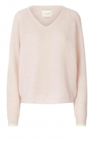 Lolly's Laundry |  Knitted V-neck sweater Aliza | light pink  | Picture 1