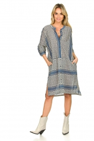 Lolly's Laundry |  Cotton print dress Vega | blue  | Picture 3