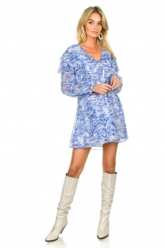 Patrizia Pepe |  Dress with print Athene | blue  | Picture 3