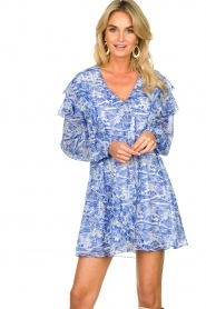 Patrizia Pepe |  Dress with print Athene | blue  | Picture 2