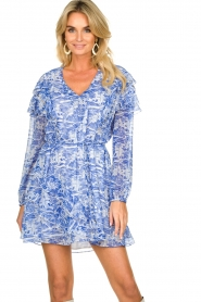Patrizia Pepe |  Dress with print Athene | blue  | Picture 4