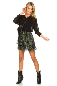Patrizia Pepe |  Skirt with floral print Maia | black  | Picture 6