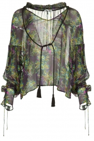 Patrizia Pepe |  Blouse with floral print Iris | black  | Picture 1