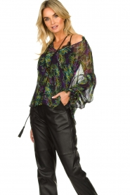 Patrizia Pepe |  Blouse with floral print Iris | black  | Picture 4